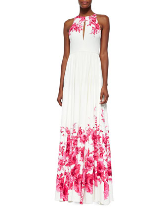 Floral-Print Slit Keyhole Gown, Peony