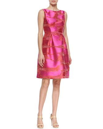 Metallic Space-Dyed Full-Skirt Dress, Pink
