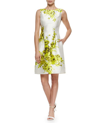 Floral-Print Taffeta Sheath Dress