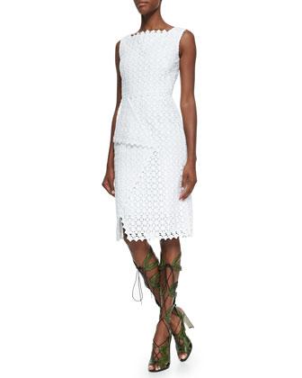 Sleeveless Square-Neck Lace Dress