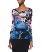 Butterfly-Print Jersey T-Shirt, Black Multi