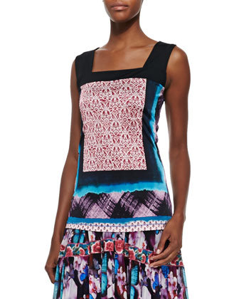 Square-Neck Printed Liquid Jersey Top & Printed Tiered Full-Skirt Dress