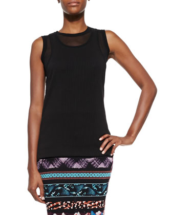 Sheer Double-Layered Tank Top, Black