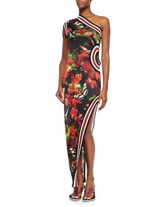 One-Shoulder Cherry Butterfly-Print Dress, Black/Red