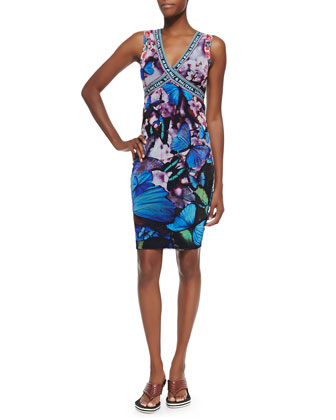 Butterfly-Print Cross-Front Sheath Dress, Blue Multi