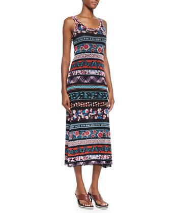 Mixed-Print Striped Tank Dress, Blue Multi