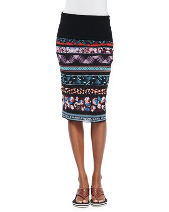 Printed Striped Tube Skirt, Blue Multi