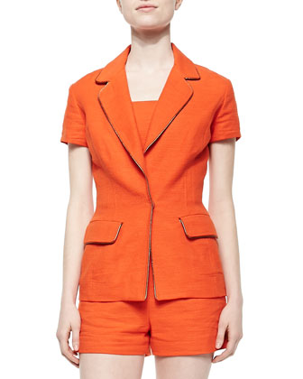 Short-Sleeve Linen Blazer Jacket, Orange