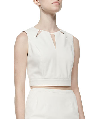Geometric Cutout Crop Top, Cream
