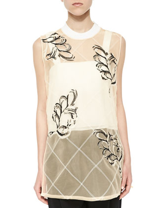 Lattice Plume-Print Sheer Tank, Double-Layered Wide-Strap Crop Top & ...