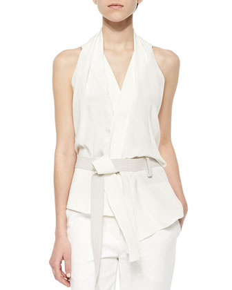 Draped Crisscross-Back Judo Belt Top, Feather
