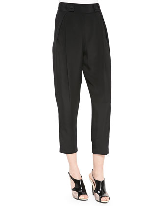 Tab-Waist Pleated Cropped Pants, Black