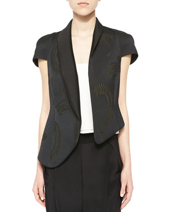 Asymmetric Feather-Print Jacket, Moss