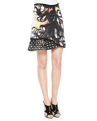 Chiffon-Inset V'd Tank Top & Mixed-Print Ruffle-Paneled Skirt