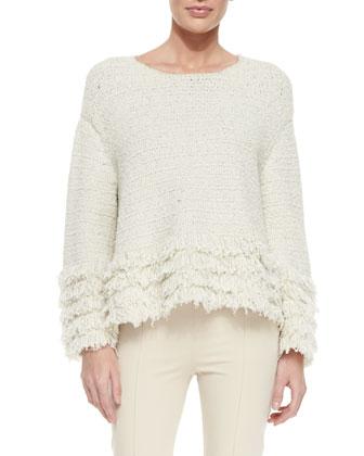 Laina Fringed Tiered-Hem Sweater