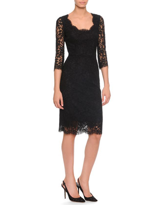 Scoop-Neck Lace Sheath Dress, Black