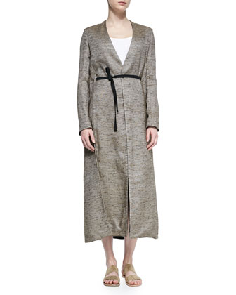 Vantin Shantung Long Coat, Oak Melange