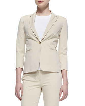 Remy One-Button Suit Jacket, Kenzi Ribbed Cotton T-Shirt & Cordan Front-Zip ...
