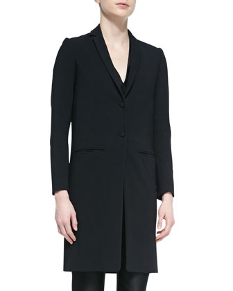 Aljana Long Cardigan Jacket, Black