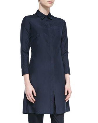 Bona Long Silk Blouse, Navy
