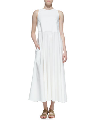 Hera Long Sleeveless Dress, White