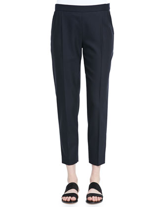 Nocu Slim Pleated Cropped Pants, Navy