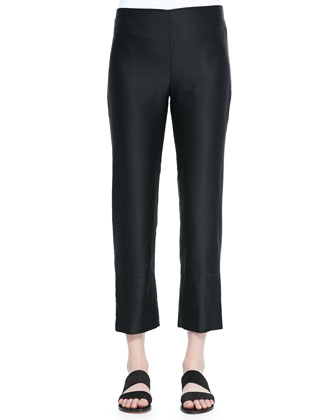 Rosalina Side-Zip Cropped Pants, Black