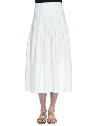 Vanni Drop-Waist Pleated Skirt, White