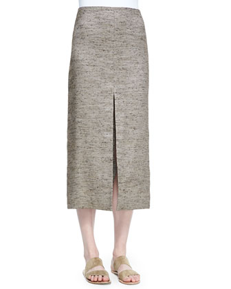 Lakima Long Slit Skirt, Oak Melange