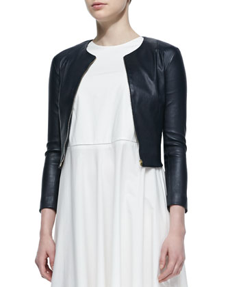 Stanta Leather Cropped Zip Jacket & Hera Long Sleeveless Dress
