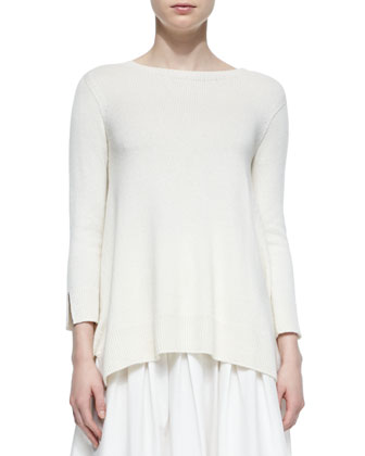 Georgia Slit-Cuff Crewneck Sweater, Natural