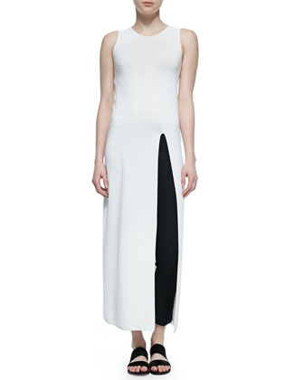 Erine High-Slit Long Dress, Ivory