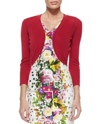 Wool-Blend Knit Bolero & Floral Confetti-Print Sheath Dress
