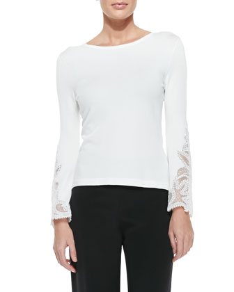 Lace-Embroidered Bell-Sleeve Knit Top