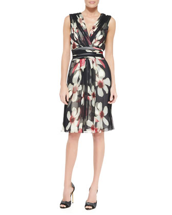 Magnolia-Print Sash-Waist Silk Dress