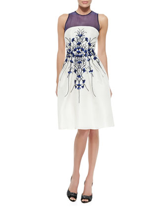 Petal-Embroidered Gazar Cocktail Dress