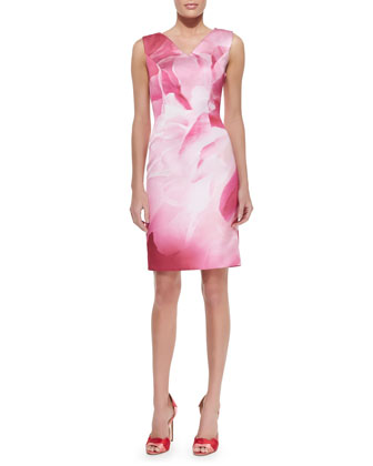 Peony-Print Sheath Dress