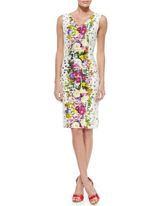 Floral Confetti-Print Sheath Dress