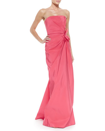 Strapless Ruched-Waist Gown