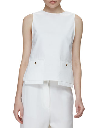 Drop-Pocket Sleeveless Tunic & Flat-Front Low-Rise Cropped Pants
