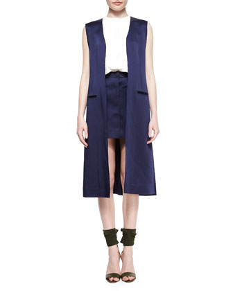 Long Side-Slit Vest, Sleeveless Double-Layer Shell & Patch-Pocket A-Line Skirt