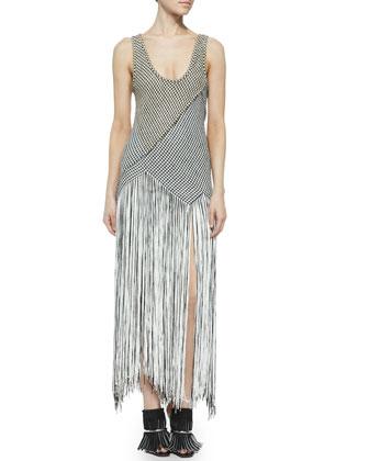Fringe-Skirt Houndstooth Dress