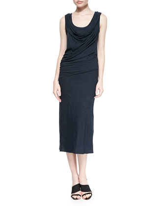 Cowl-Neck Draped Midi Dress, Deep Indigo