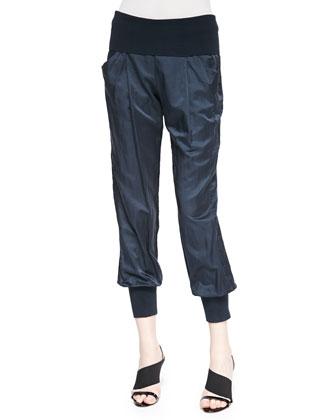 Rib-Trimmed Taffeta Sport Pants, Deep Indigo