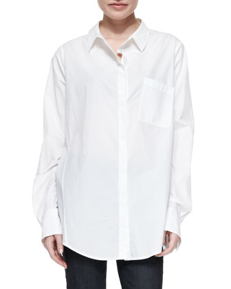 Cutout Crossover-Back Boyfriend Blouse, White