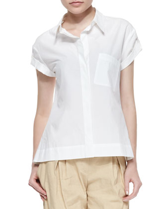 Short Tab-Sleeve Pleated Blouse & Washed Canvas Pleated Capri Pants
