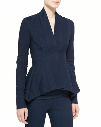 Woven Peplum Jacket, Sleeveless Ruched Jersey Top, Bicolor Pull-On Ankle ...
