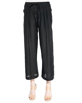 Convertible Wide-Leg Pull-On Pants, Black