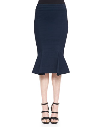Jersey Fit-And-Flare Skirt, Deep Indigo