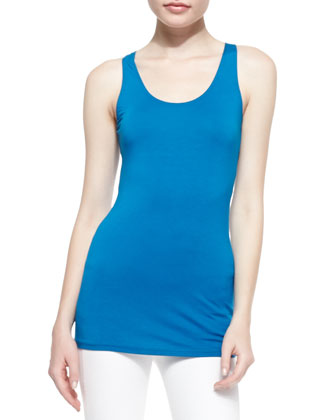 Scoop-Neck Jersey Tank Top, Cerulean